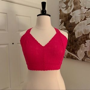 Cacique Hot Pink Stretch Lace Bralette